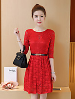 Sign 2017 summer new Korean Women bottoming lace sleeve dress long section of the A-line dress female
