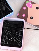 200PCS 1 Box A Word With Black Hair Round Head Wire Clip Hairpin Tin Box Studio Plate Card Edge Random Style