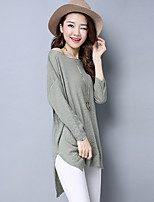 Women's Going out Long Cardigan,Solid Round Neck Long Sleeve Others Spring Fall Thin Micro-elastic