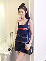 Real shot! Europe Heavy embroidery spring knit sleeveless denim shirt + denim shorts piece Tide brand