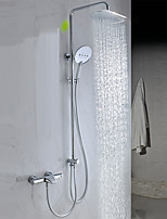 Contemporary Tub And Shower Rain Shower Widespread Handshower Included with  Brass Valve Two Handles Two Holes for  Chrome  Shower And Bathtub Faucet