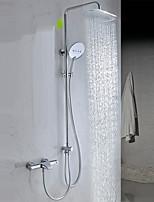 עכשווי מקלחת ואמבטיה מקלחת גשם spary Wide שפורפרת יד כלולה with  שסתום פליז שתי ידיות שני חורים for  כרום , ברז למקלחת