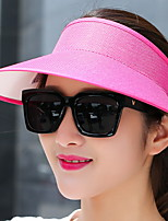 Women 's Beach Sunscreen Empty Hat Pure Color Linen UV Protection Outdoor Leisure Couple Sun Hat