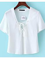 Aliexpress 2016 моделей взрыва кружева V-образным вырезом с короткими рукавами футболки женские