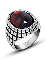 Ring Circle Titanium Steel Round Black Red Jewelry For Daily 1pc