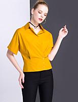 여성 솔리드 셔츠 카라 짧은 소매 셔츠,심플 캐쥬얼/데일리 작동 면 여름 불투명 중간