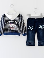 Boys' Casual/Daily Solid Striped Sets,Cotton Spring Fall Long Sleeve Clothing Set