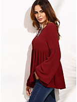 AliExpress Amazon fold wine red blouse horn sleeved T-shirt