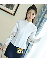 Women's Casual/Daily Simple Spring Shirt Skirt Suits,Solid Polka Dot Shirt Collar Long Sleeve Cotton