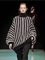 Для женщин На каждый день Обычный Пуловер Контрастных цветов,Хомут Длинный рукав Шерсть Осень Зима Средняя Слабоэластичная