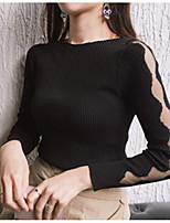 Damen Standard Strickjacke-Lässig/Alltäglich Einfach Solide Einfarbig Steigendes Revers Langarm Baumwolle Sommer Herbst Dünn