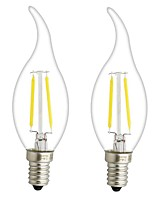 2PCS 3W E12/E14  LED  Filament Bulbs C35 2 COB 300 lm Warm White Dimmable AC 220-240 AC 110-130 V