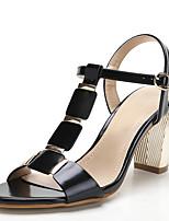 Sandals Spring Summer Fall Toe Ring PU Office & Career Dress Casual Chunky Heel Rivet