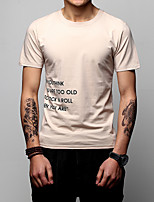 Men's Plus Size Casual/Daily Holiday Simple Street chic Active Spring Summer T-shirt,Letter Round Neck Short Sleeve Cotton Medium