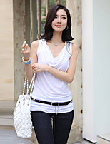 Women's Going out Casual/Daily Holiday Vintage Simple Cute All Seasons Summer T-shirt,Solid V Neck Sleeveless Rayon Thin