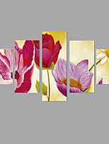 Tela de impressão Vida Imóvel Floral/Botânico Pastoril Estilo Europeu,5 Painéis Tela Qualquer Forma Impressão artísticaDecoração de