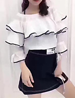 Women's Casual/Daily Beach Holiday Simple Street chic Sophisticated Spring Summer Blouse Skirt Suits,Solid Color Block Off Shoulder¾