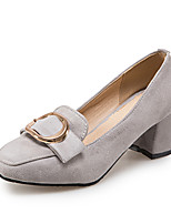 Women's Heels Spring Summer Fall Winter Club Shoes Fleece Office & Career Dress Casual Chunky Heel Block Heel BuckleBlack Gray Brown