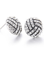 Lureme Fashion Crystal Rhinestone Post Stud Silver Bling Basketball Earrings
