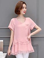 Для женщин На каждый день Большие размеры Лето Блуза Круглый вырез,Простое Однотонный С короткими рукавами,Полиэстер,Средняя