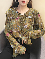 Sign flounced chiffon blouse doll collar flower Nett