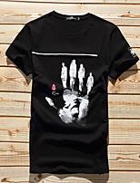 mince col rond occasionnels été t-shirt en coton imprimé adolescents coréens à manches courtes T-shirt épissage mâle