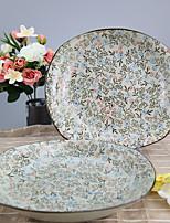 Arika Flowery Styled Porcelain Squared Serving Plate Dinnerware