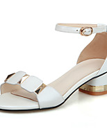 Sandals Spring Summer Fall Club Shoes Cowhide Office & Career Party & Evening Dress Chunky Heel Buckle Pink White