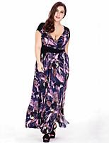 Women's Plus Size Beach Boho Swing Dress,Print Deep V Maxi Sleeveless Polyester Summer Fall Mid Rise Micro-elastic Medium