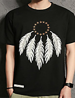 Men's Casual/Daily Simple Summer T-shirt,Print Round Neck Short Sleeve Cotton Thin