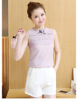 The new real shot sleeveless chiffon shirt Korean Fan temperament ladies lace embroidery small stand-up collar shirt female