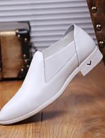 Белый Черный-Для мужчин-Для прогулок Повседневный-Кожа-На толстом каблуке-Удобная обувь-Мокасины и Свитер