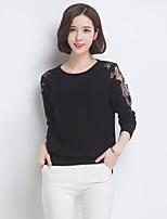 Для женщин На каждый день Шинуазери (китайский стиль) Обычный Пуловер Вышивка,Круглый вырез Длинный рукав Полиэстер Весна Тонкая