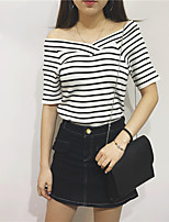 Women's Going out Casual/Daily Short Pullover,Striped Boat Neck ½ Length Sleeve Cotton Spring Summer Medium Micro-elastic