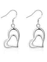 Classic Silver Plated Hollow Heart to Heart Dangle Earrings for Party Women Jewelry Accessiories