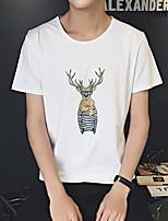 Deer printed round neck short-sleeved T-shirt Korean men wind Aberdeen