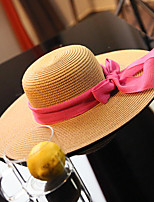 Women's Fashion Straw Hat Sun Hat Wide Brim Hat/Cap Cute Casual Bowknot Beach Summer Beige/Khaki/Black
