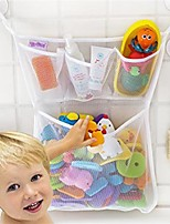 3Pcs/Set   Kids Baby Bath Time Toys Suction Storage Bag With Two Hooks  Folding Hanging Type Mesh Net Bathroom Shower Toy Organization Bag