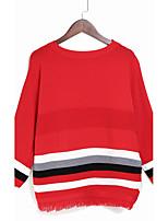 Для женщин На каждый день Короткий Пуловер Однотонный,Круглый вырез Длинный рукав Нейлон Весна Осень Тонкая Слабоэластичная