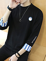 Men's Casual/Daily Active Simple Sweatshirt Print Jacquard Round Neck Micro-elastic Cotton ¾ Sleeve Summer