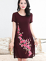 Women's Plus Size Going out Simple Shift Dress,Embroidered Round Neck Above Knee Short Sleeve Polyester Summer Fall Mid Rise Inelastic