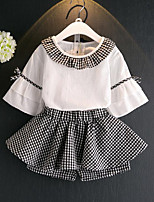 Girls' Casual/Daily Plaid Patchwork Sets,Rayon Summer ¾ Sleeve Clothing Set