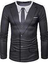 Tee-shirt Homme,Géométrique Décontracté / Quotidien Chic de Rue Manches Longues Col Arrondi Polyester