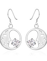 Concise Silver Plated Clear Crystal Moon Stars Dangle Earrings for Party Women Jewelry Accessiories