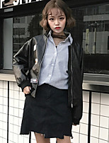 Women's Casual/Daily Vintage Fall Leather Jacket,Solid Stand Long Sleeve Short Cotton