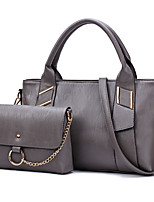 Women Bag Sets PU All Seasons Formal Casual Event/Party Wedding Office & Career Barrel Zipper Gray Red Black