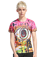 Men's Casual/Daily Club Holiday Simple Punk & Gothic T-shirt,Print Round Neck Short Sleeve Cotton