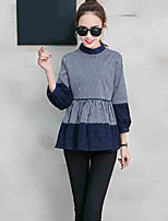 Women's Casual/Daily Simple Blouse,Striped Patchwork Round Neck Long Sleeve Cotton Linen Opaque
