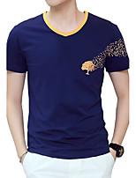 Heren Eenvoudig Street chic Actief Zomer T-shirt,Casual/Dagelijks Strand Grote maten Effen Print Ronde hals Korte mouw Katoen Dun Medium