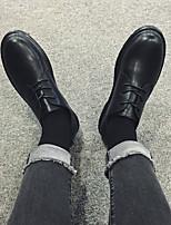 Черный-Для мужчин-Повседневный-Кожа-На плоской подошве-Удобная обувь-Мокасины и Свитер